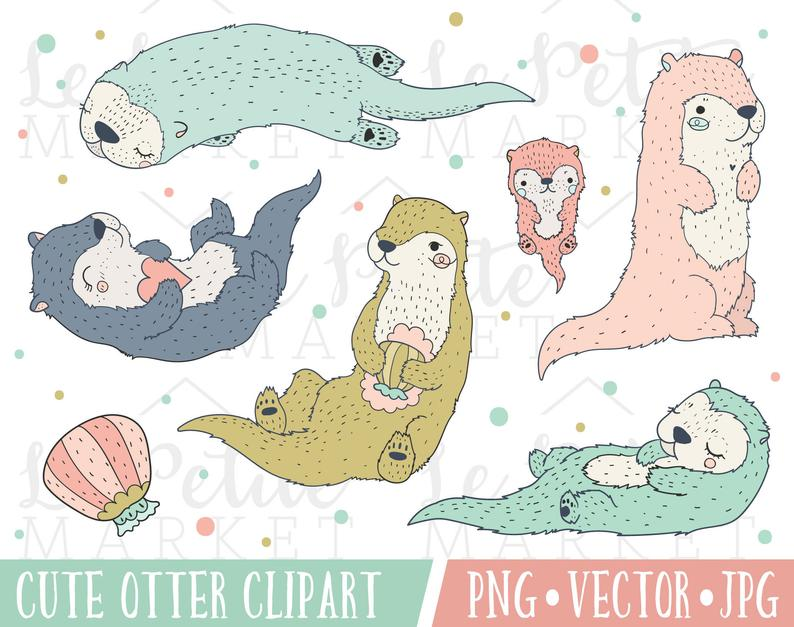Cute Pastel Otter Clipart Images, Cute Otter Clip Art, Otter Illustration  Set, Kawaii Otters, Sea Animals, Otter Vector, Cute Otter PNG.
