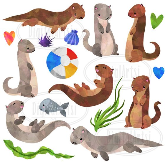 Watercolor Otter Clipart.