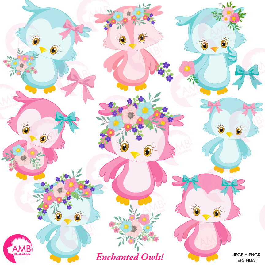 Owl clipart, Cute owl clipart, , Pink owl clip art, AMB.