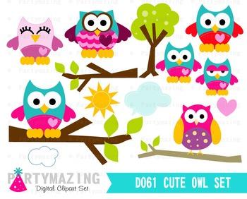 Owl ClipArt, Cute Owl Clip art Set, Owl Forest Clipart Set D061 by.