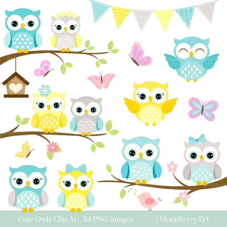 Owls Clipart 'CUTE OWL CLIPART' Digital Owls Clipart..