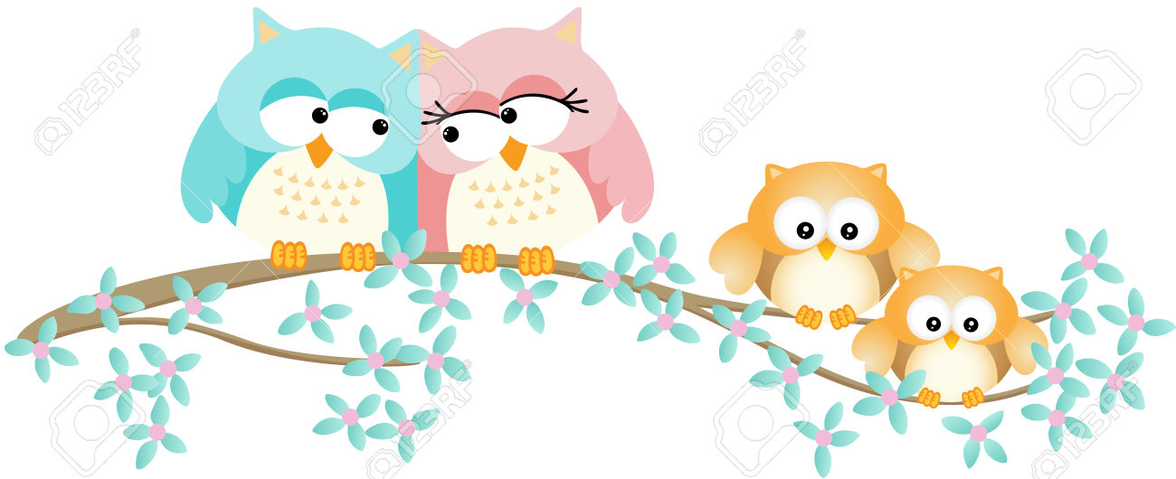 Cute Owl Family On Spring Tree Branch Royalty Free Cliparts.