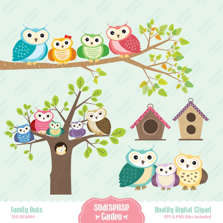 Cute Owl Family Clipart.