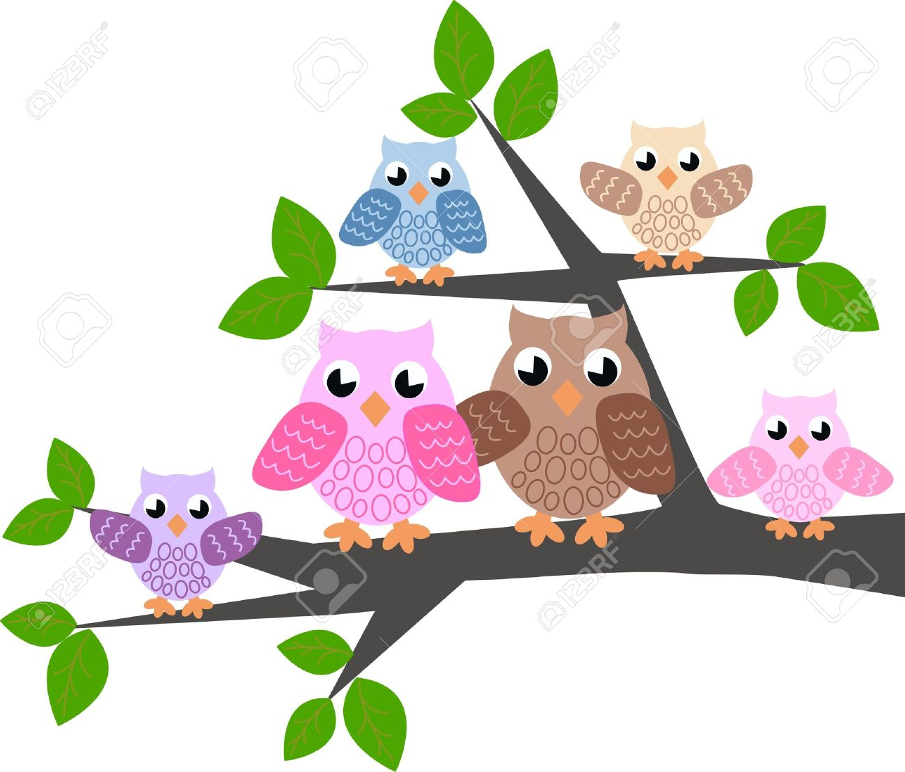 A Cute Owl Family Royalty Free Cliparts, Vectors, And Stock.