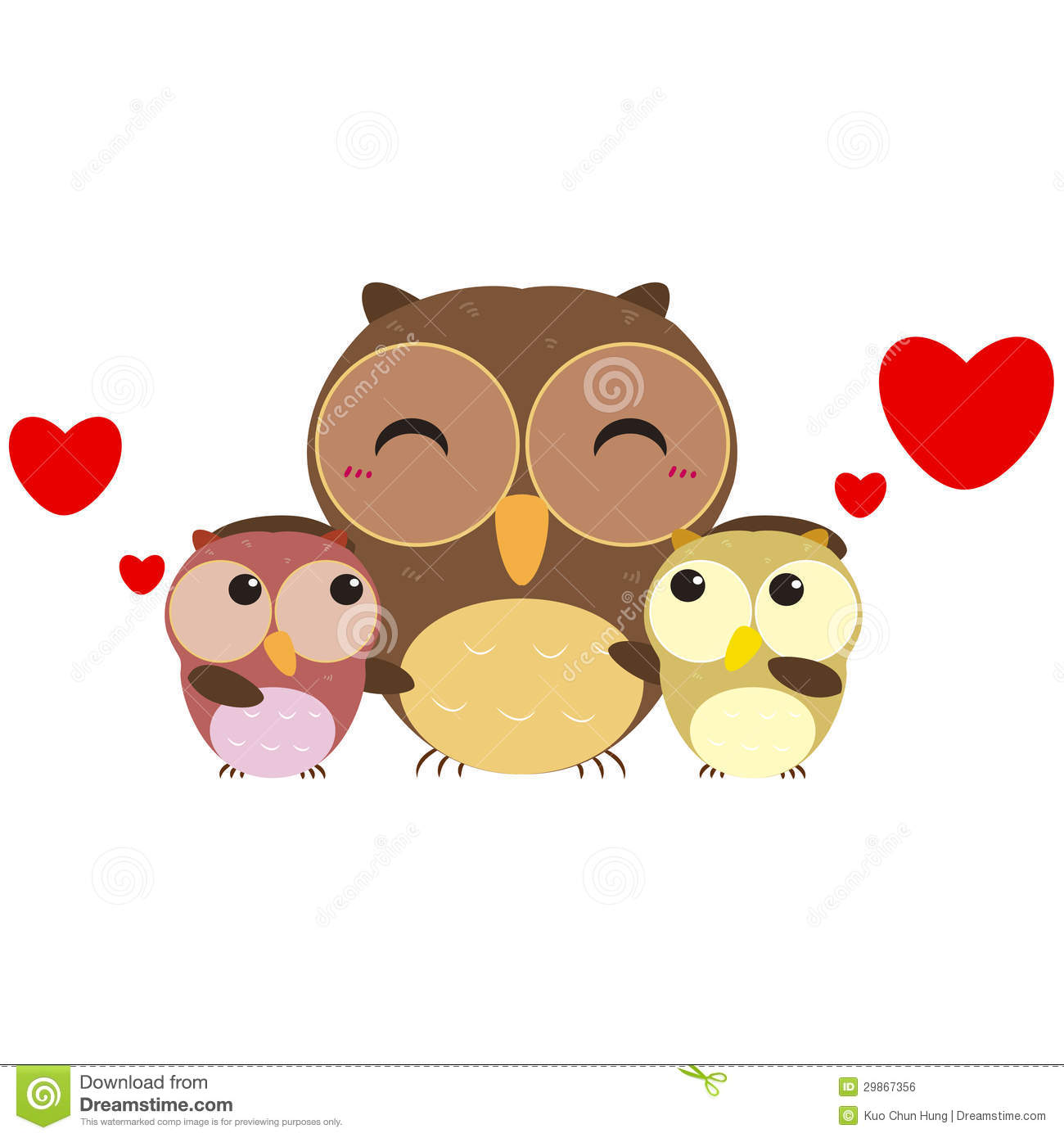 Cute Owl Family Royalty Free Stock Image.