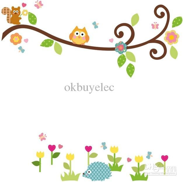 Cute Owl On Tree Clipart Black And White.