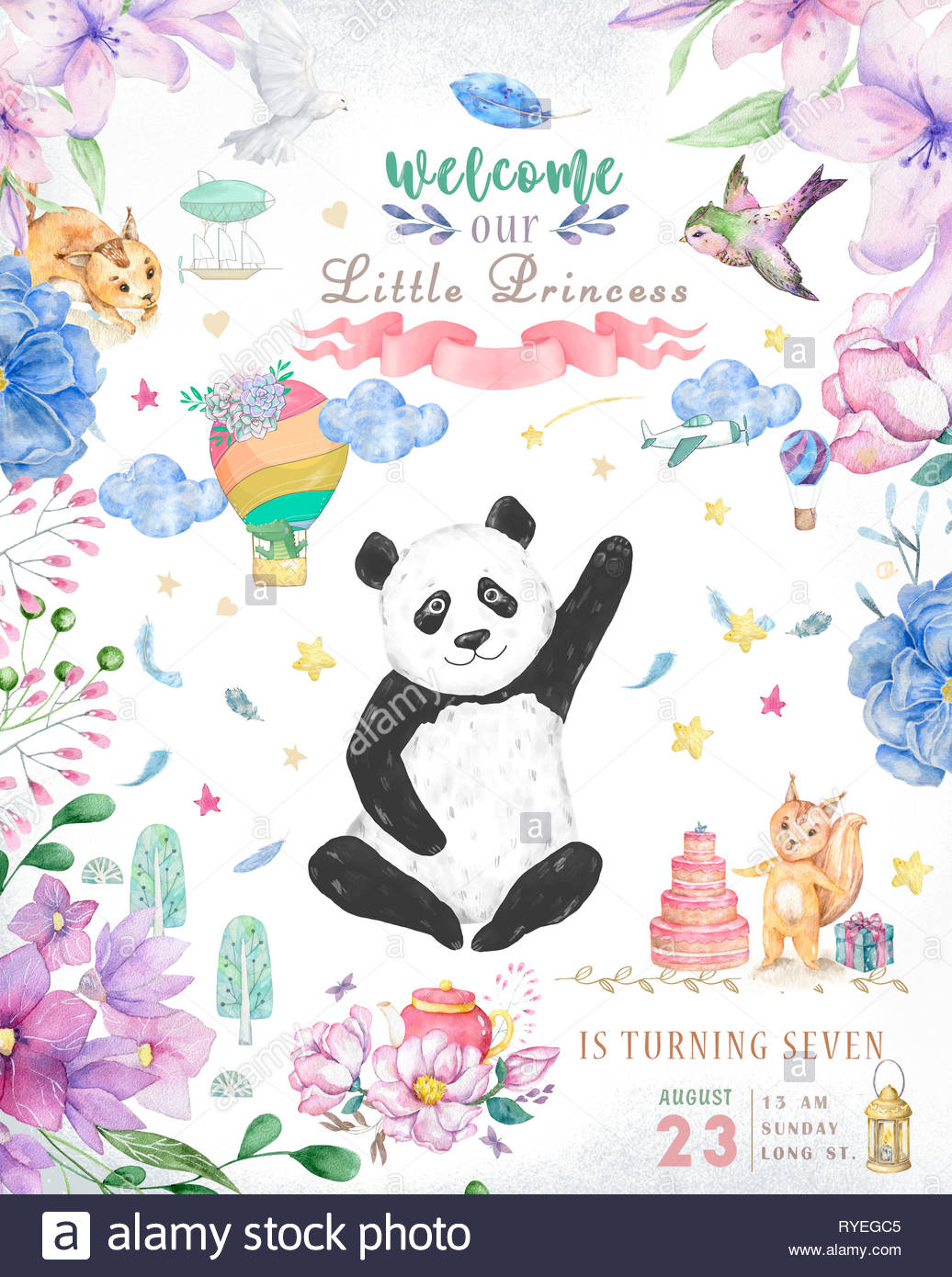 Happy Birthday card design with cute panda bear and boho flowers and.