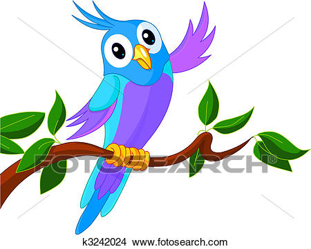 Cute Cartoon Parrot Clipart.