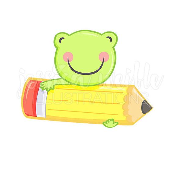 Frog with Pencil Cute Digital Clipart, Cute Frog Clip art, Education.