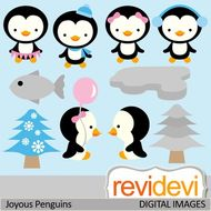 Clip art Joyous Penguins 07434 (cute penguins clipart).