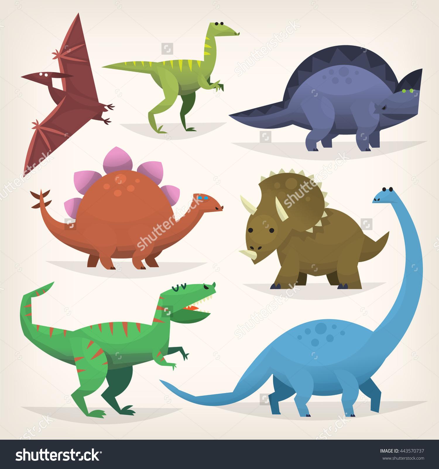 Cute Cartoon Dinosaurs Prehistoric Jurassic Period Stock Vector.
