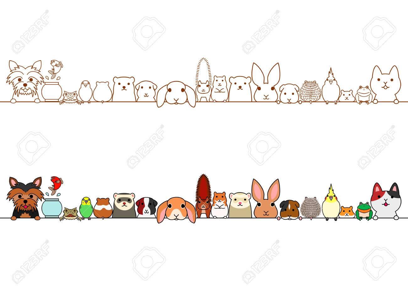 cute pet animals border set.