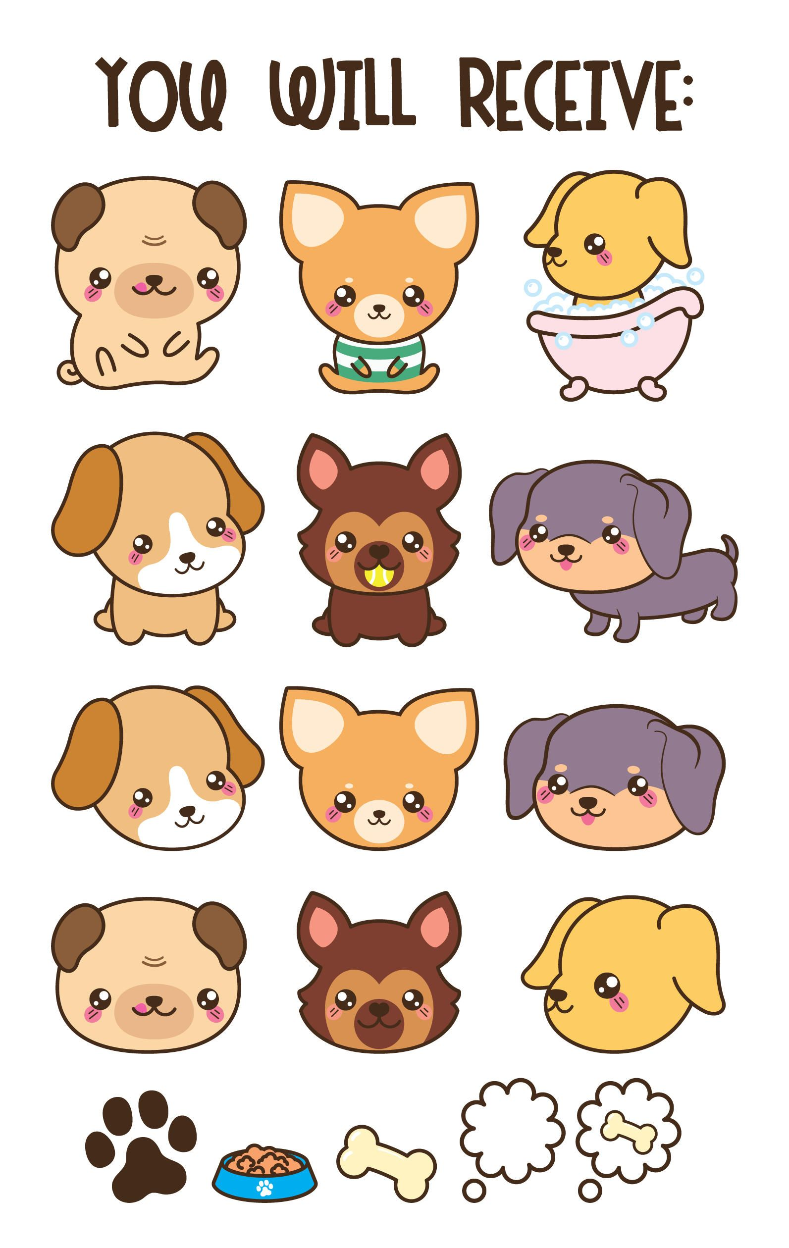 Kawaii dog clipart, cute dog clipart, dog breeds clipart, daschund.