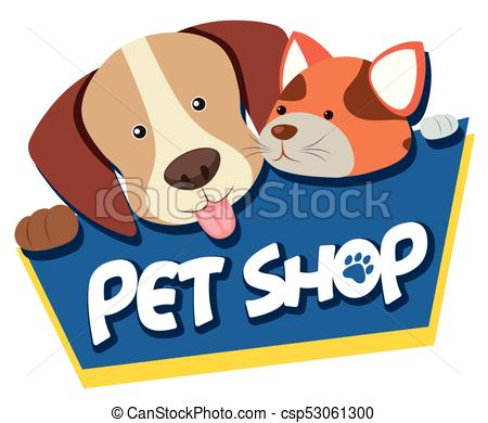 Pet shop sign with cute dog and cat.