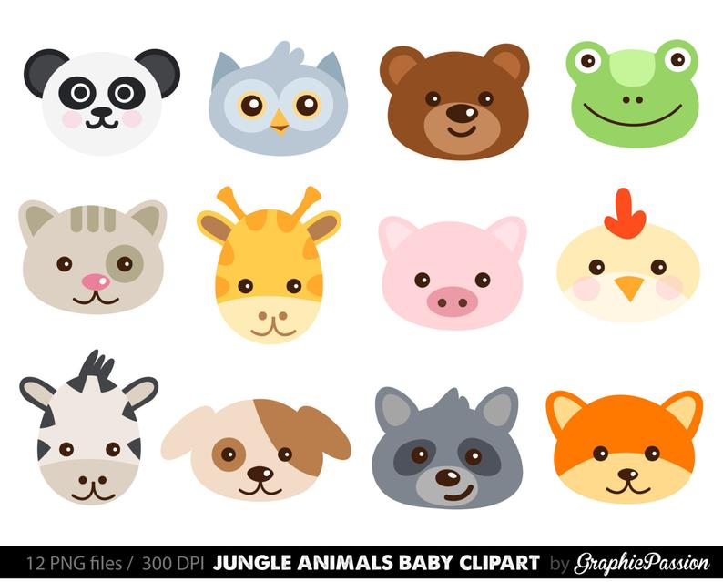 Cute Animal Faces Digital Clipart / Digital Scrapbooking / Zoo Animals  Forest Clipart / For Personal And Commercial Use/ Instant Download.