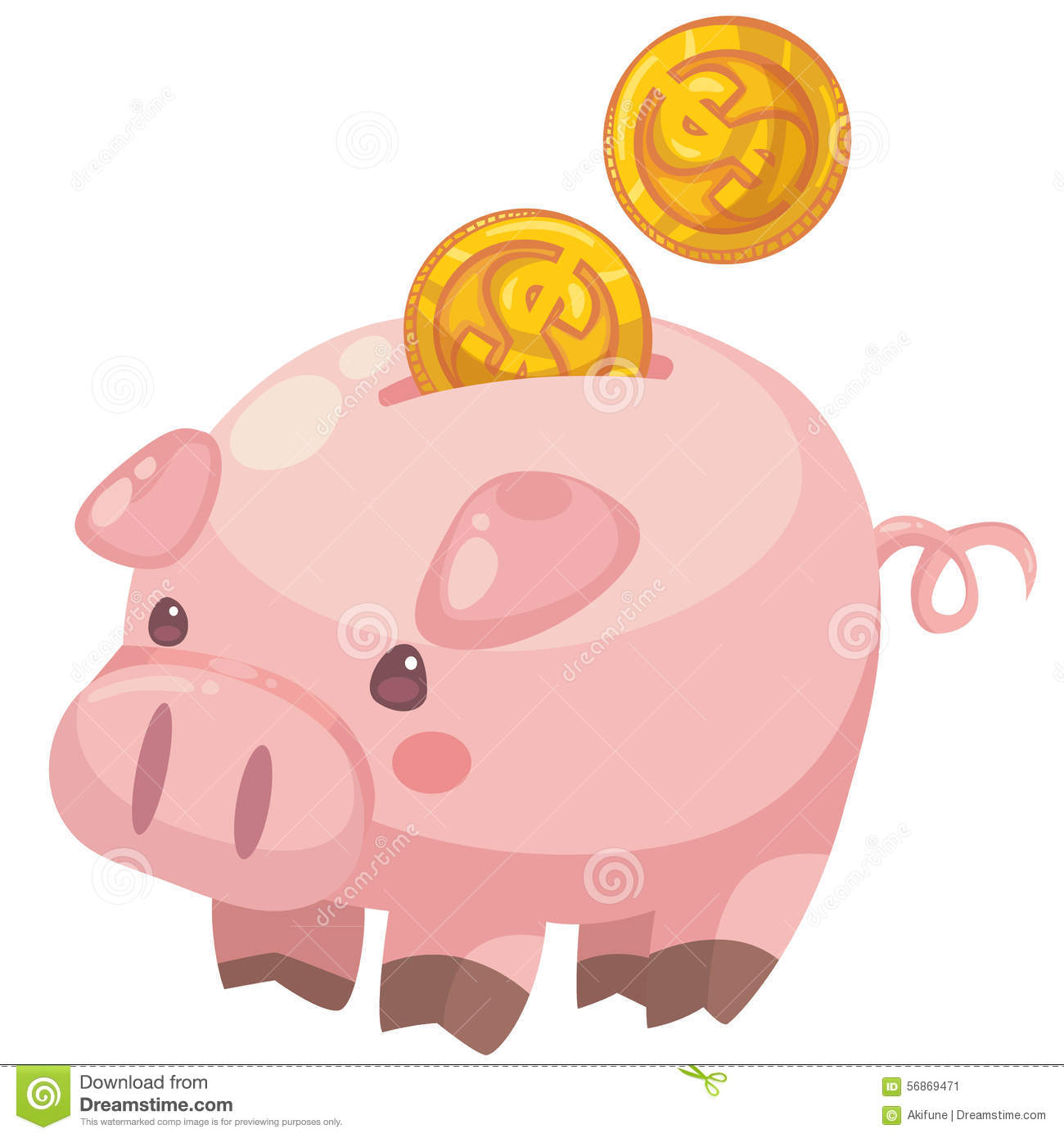 Cute Cartoon Piggy Bank With Coins Stock Vector.