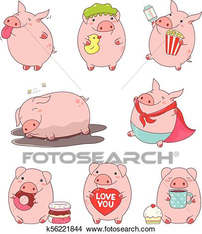 Collection of cute pigs Clipart.