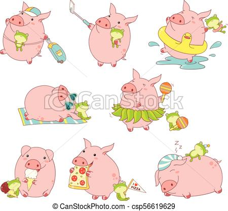 Collection of cute pigs.