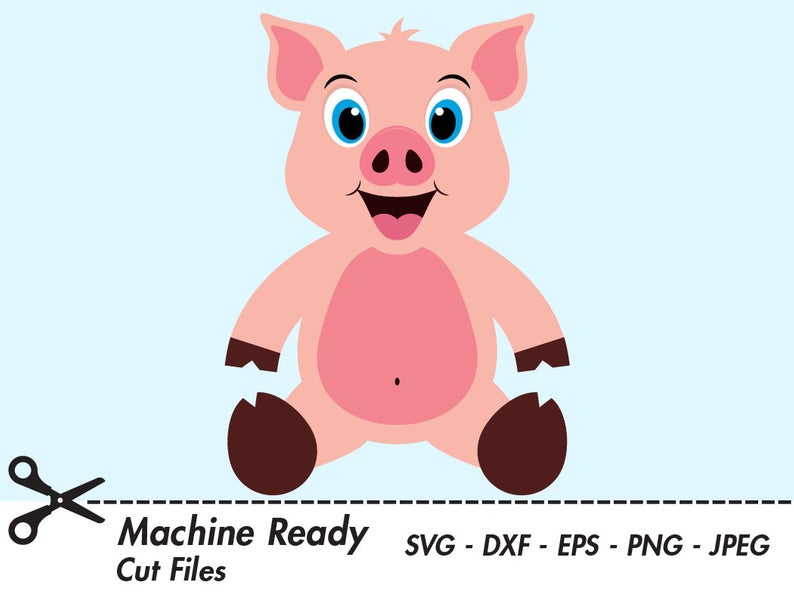 Cute Pig SVG Cut Files, pigs clipart, pig face clip art, country farm  animal vector, happy baby piglet head, farmhouse pig, little piggy PNG.