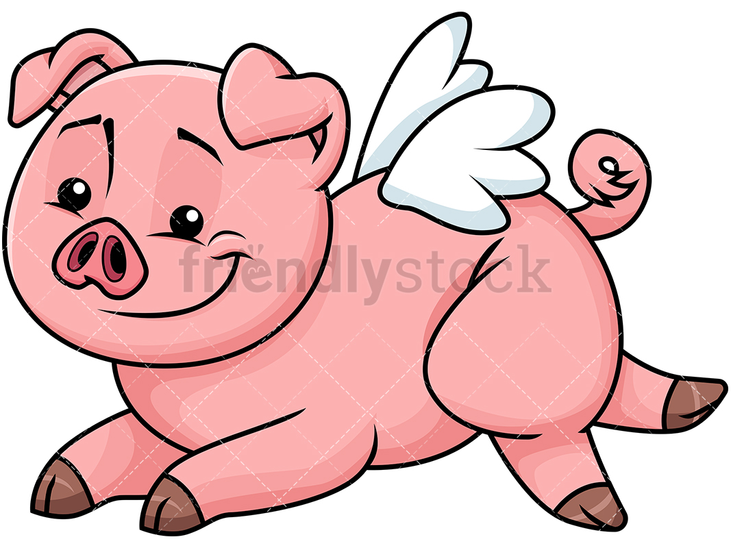 Cute Pig With Wings Like An Angel.