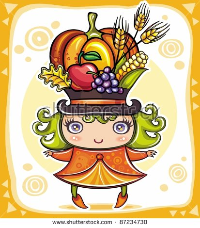 Happy Cute Girl Wearing Harvest Hat Full Of Colorful Fruits And.