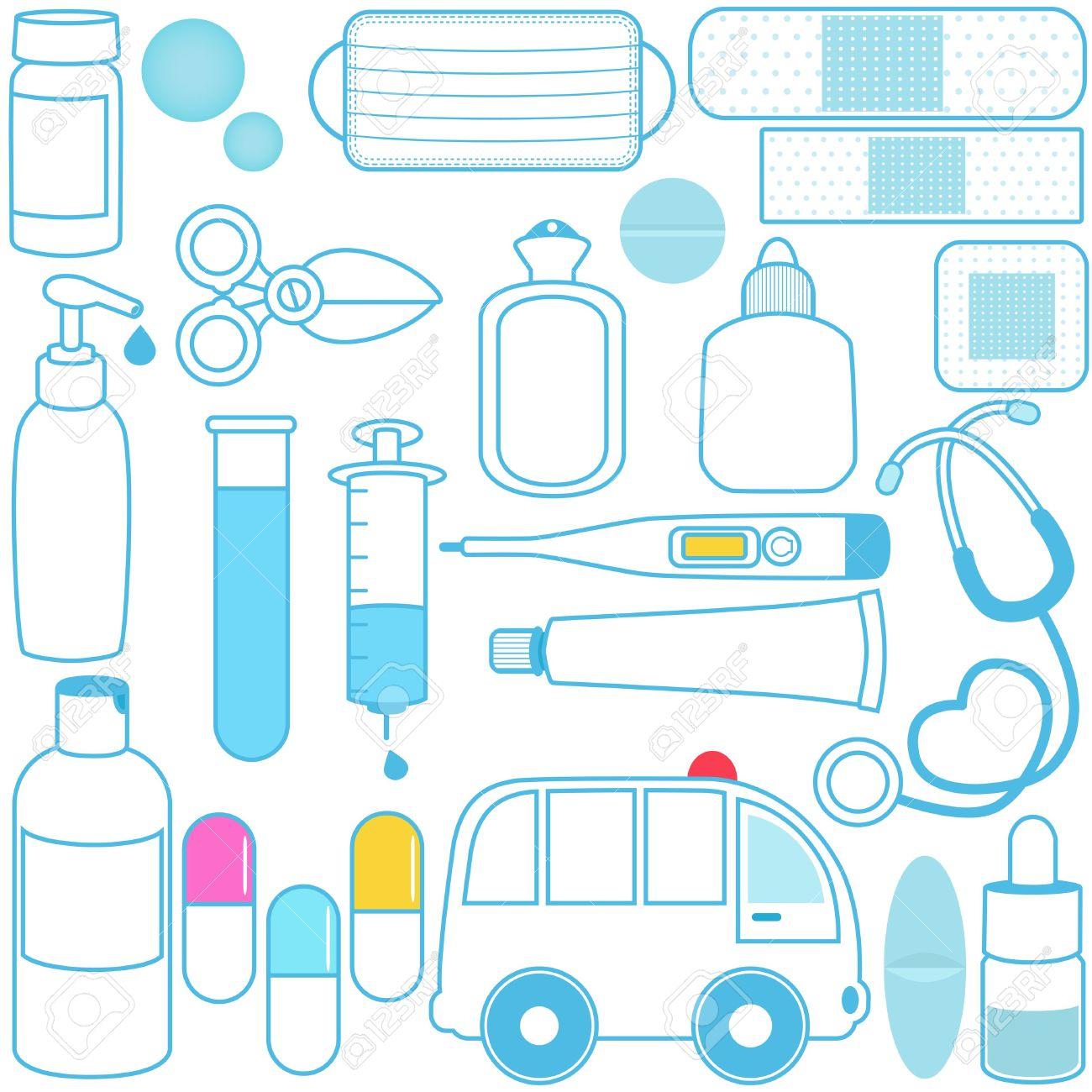 Cute Vector Icons: Medicines, Pills, Medical Equipments, Blue.