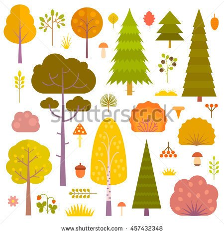 Grass And Pine Tree Cute Clipart.