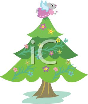 Royalty Free Clipart Image: Cute Christmas Tree Decorated with.