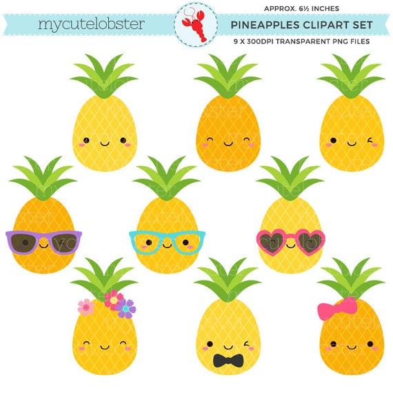 Cute Pineapples Clipart Set.