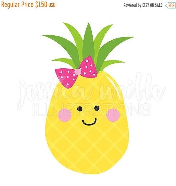 Pineapple Cutie Cute Digital Clipart, Pineapple Clip art, Girly.