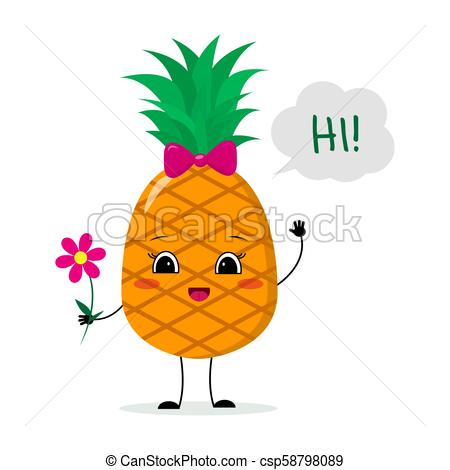 Cute pineapple cartoon character with a pink bow holding a flower and  welcomes..