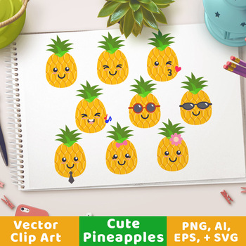 Cute Pineapples Clipart, Pineapple SVG, Pineapples with Sunglasses, Fruit.