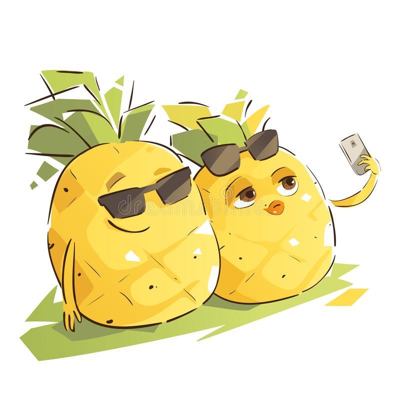 Cute Pineapple Stock Illustrations.