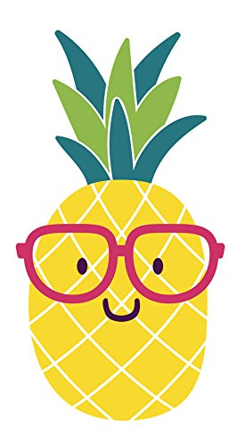 Adorable Nerdy Summer Pineapple Emoji with Glasses Vinyl Decal Sticker (4