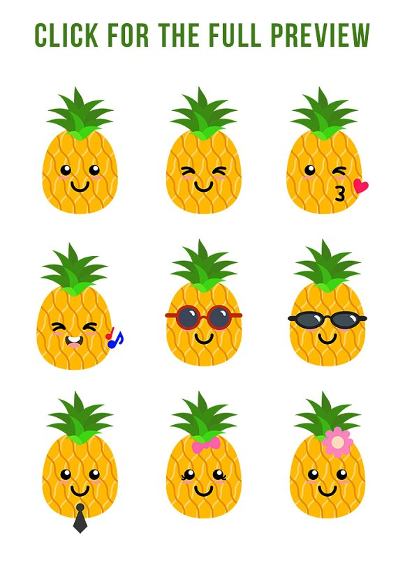 Cute Pineapples Clipart.