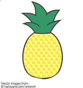 Download cute pineapple drawing vector graphic clipart.