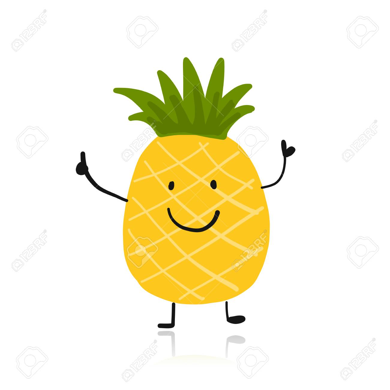 Pineapple, cute character for your design illustration..