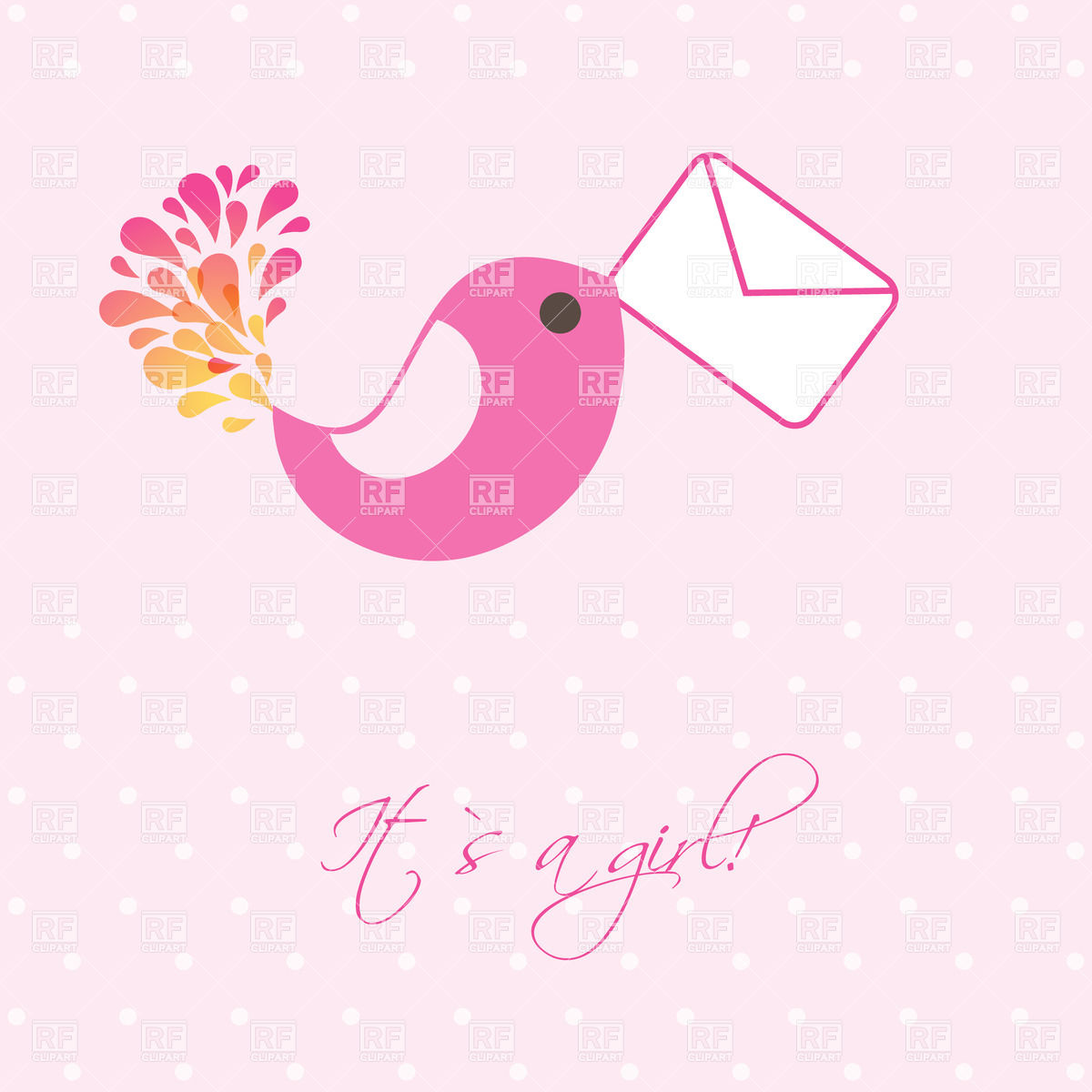 Cute pink bird carrying mail envelope Vector Image #24073.