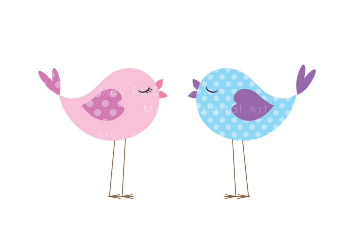 Cute Pink Bird Clipart.