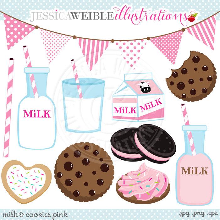 PINK Milk & Cookies Cute Digital Clip Art Commercial Use OK.