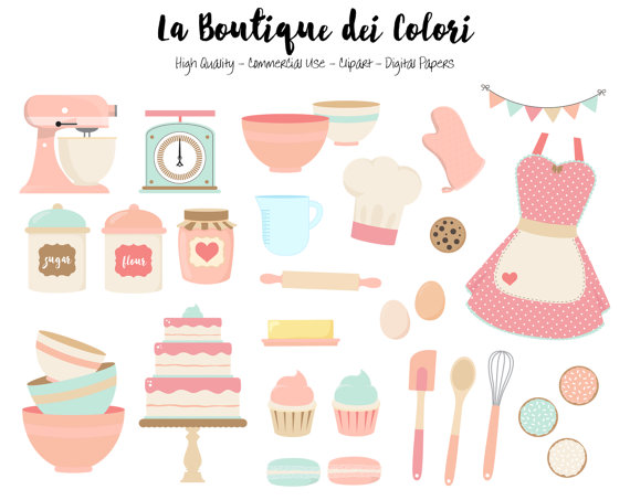 Pink and blue Baking Clipart Cute Digital Graphics PNG.