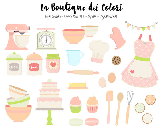 Pink and Green Baking Clipart, Cute Digital Graphics PNG, Vintage.