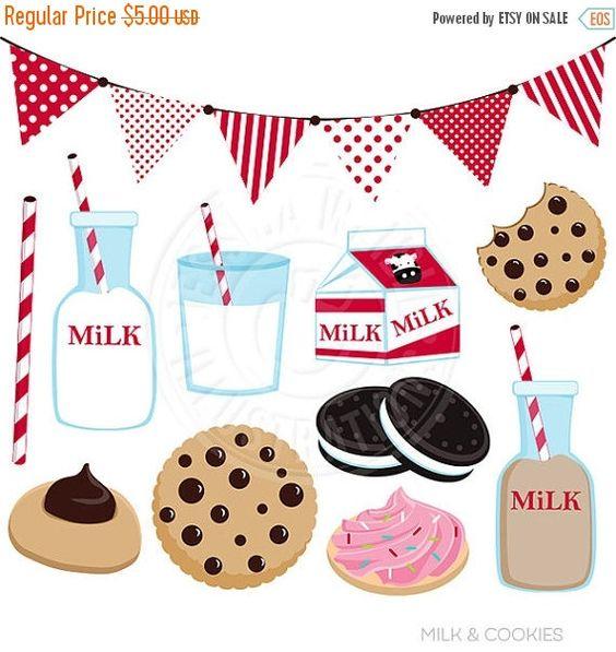 Milk & Cookies Cute Digital Clip Art.
