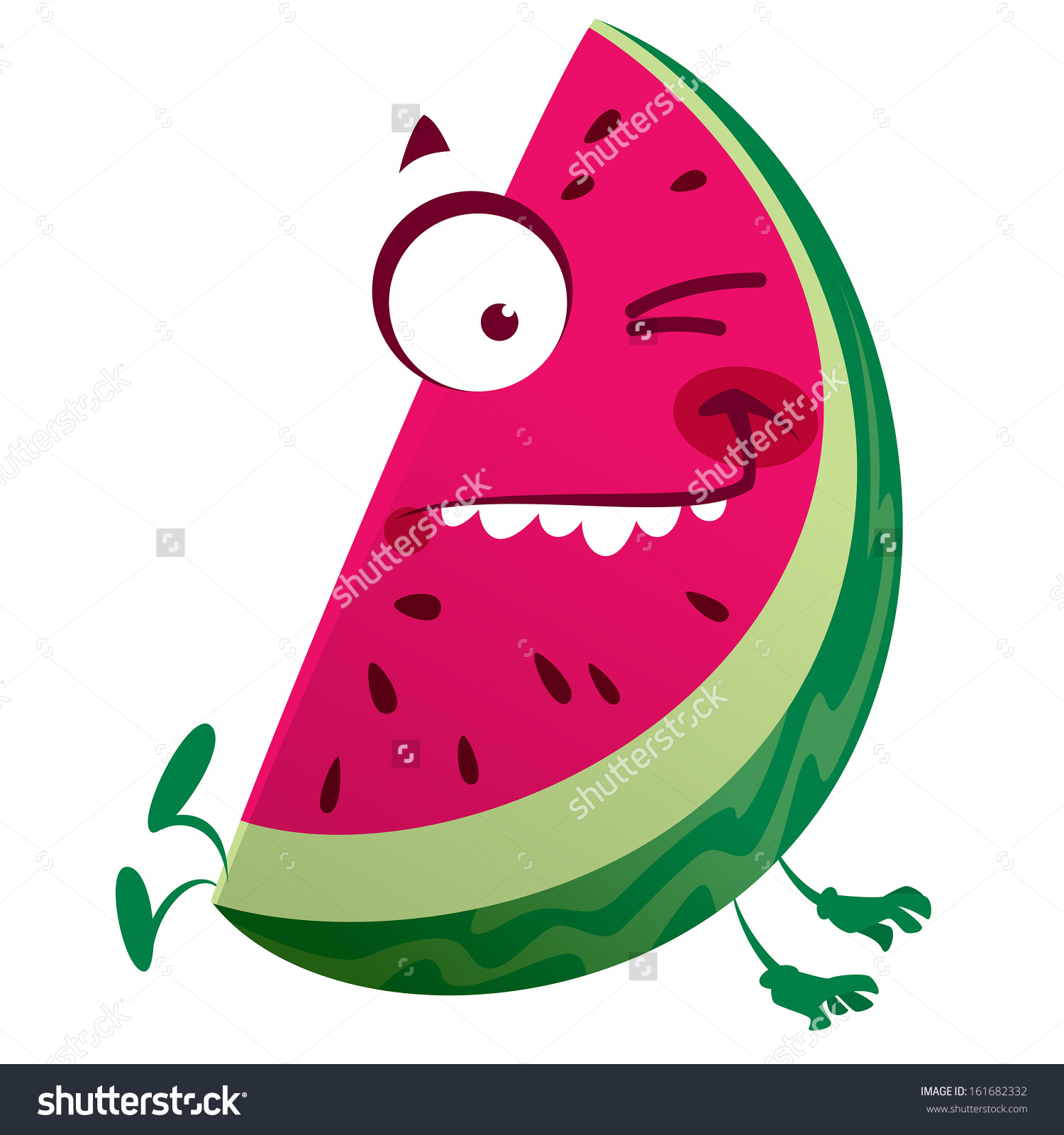 Cartoon Pink Red Watermelon Fruit Character Stock Vector 161682332.