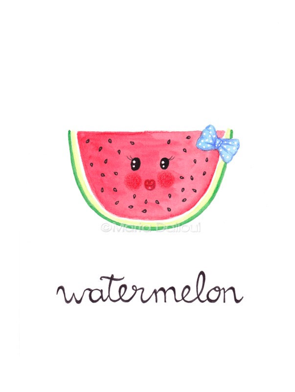 Watermelon fruit art original watercolor painting. Cute.