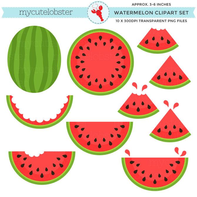 Watermelon Clipart Set.