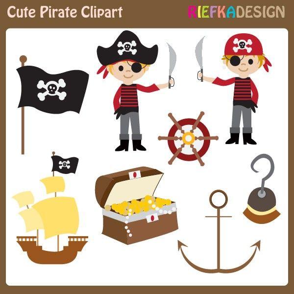 Cute Pirate Digital Clip art Boy Pirate Clipart Red by riefka.