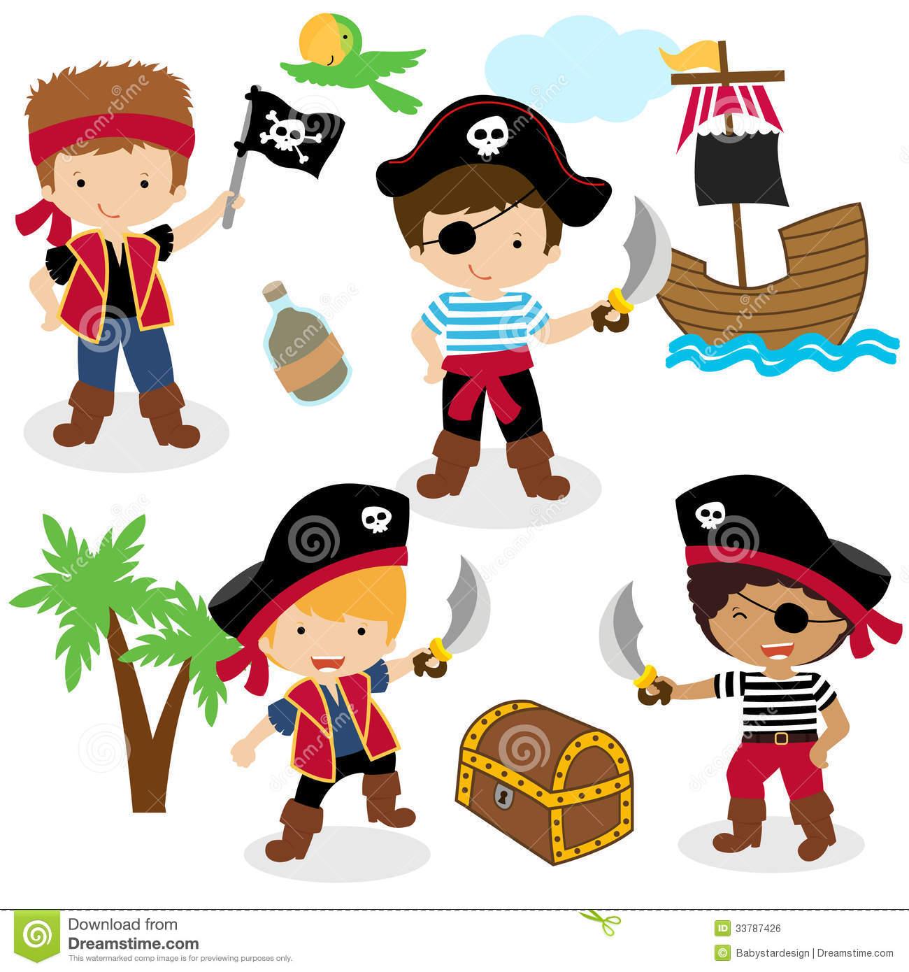 Cute Set Of Children Pirates Stock Vector.