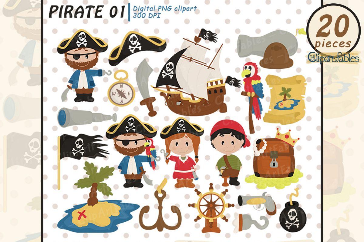PIRATE clipart, Ahoy clip art, Cute pirate theme.