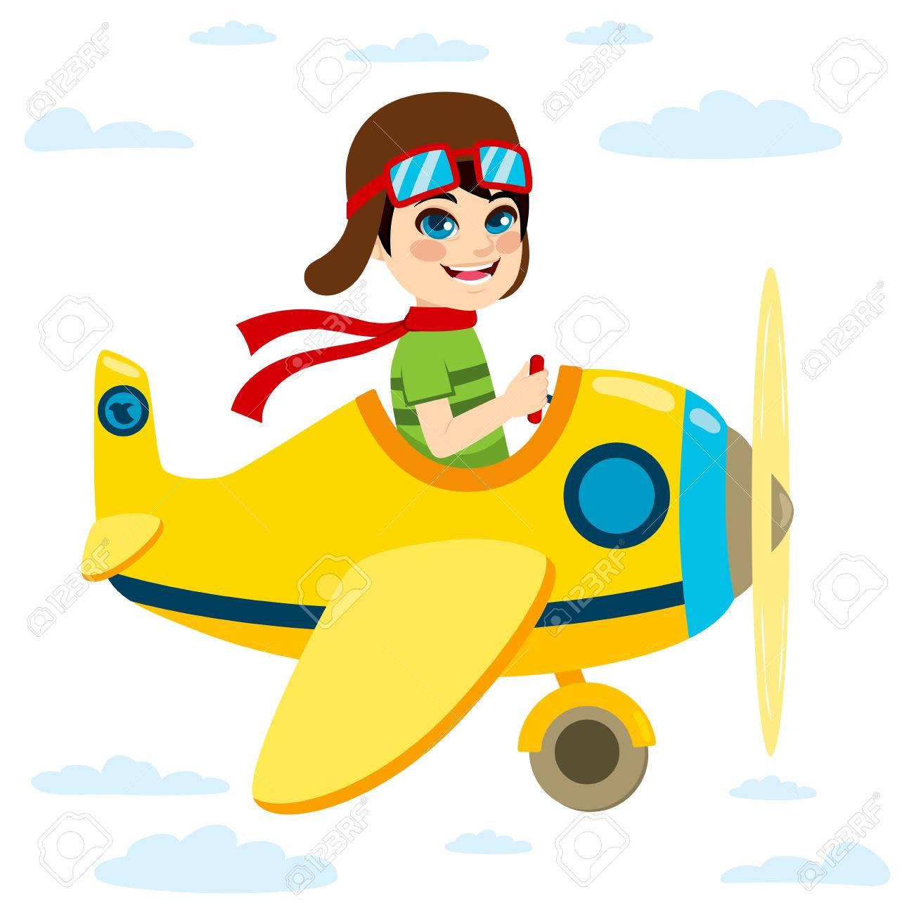 Cute little kid flying a plane on sky.